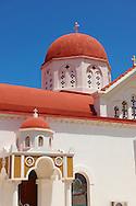 Red roofed Orthodox church. Naxos Greek Cyclades Islands