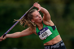 Danara Stoppels in action on the javelin throw section during the Dutch Athletics Championships (NK) on the athletics track Maarschalkerweerd on 30 August 2020 in Utrecht.