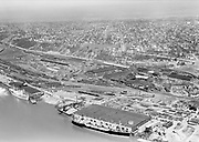 Ackroyd 02769-1. Albina Freight Terminal aerial. April 2, 1951 (Albina Dock on left)