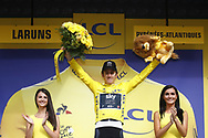 Podium Geraint Thomas (GBR - Team Sky) yellow leader jersey during the 105th Edition of Tour de France 2018, cycling race stage 19, Lourdes - Laruns (200 km) on July 27, 2018 in Laruns, France - photo Kei Tsuji / BettiniPhoto / ProSportsImages / DPPI