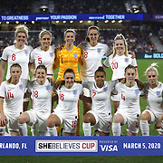 The England womens soccer starters are seen during the first match of the 2020 She Believes Cup soccer tournament at Exploria Stadium on 5 March 2020 in Orlando, Florida USA.