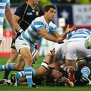 Nicolas Vergallo, Argentina, in action during the Argentina V Scotland, Pool B match at the IRB Rugby World Cup tournament. Wellington Regional Stadium, Wellington, New Zealand, 25th September 2011. Photo Tim Clayton...