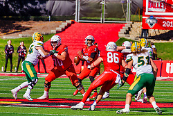 NORMAL, IL - October 16: Drew Bones holds off Jake Kava for Bryce Jefferson to make a pass during a college football game between the NDSU (North Dakota State) Bison and the ISU (Illinois State University) Redbirds on October 16 2021 at Hancock Stadium in Normal, IL. (Photo by Alan Look)