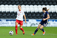 Naomi Megroz (#3) of Switzerland makes a short pass during the 2019 FIFA Women's World Cup UEFA Qualifier match between Scotland Women and Switzerland at the Simple Digital Arena, St Mirren, Scotland on 30 August 2018.