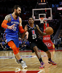 March 8, 2019 - Los Angeles, California, U.S - Los Angeles Clippers' Lou Williams (23) drives against Oklahoma City Thunder's Steven Adams (12) during an NBA basketball game between Los Angeles Clippers and Oklahoma City Thunder Friday, March 8, 2019, in Los Angeles. (Credit Image: © Ringo Chiu/ZUMA Wire)