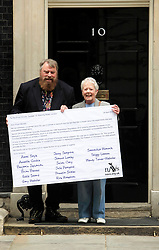 © Licensed to London News Pictures 24/04/2013.Actors Brian Blessed and Annette Crosbie join MPs and NAVS (National Anti-Vivisection Society), in delivering a petition, calling for less secrecy in animal laboratories, on World Day for Laboratory Animals. .London, UK.Photo credit: Anna Branthwaite/LNP