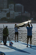 """Rio de Janeiro. BRAZIL.  USA M2-. Boating. General View at the sunrise in the boating park at the 2016 Olympic Rowing Regatta. Lagoa Stadium,<br /> Copacabana,  """"Olympic Summer Games""""<br /> Rodrigo de Freitas Lagoon, Lagoa.   Thursday  11/08/2016 <br /> <br /> [Mandatory Credit; Peter SPURRIER/Intersport Images]"""