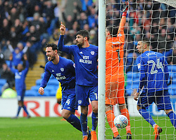 Sean Morrison of Cardiff City scores goal which is disallowed  - Mandatory by-line: Nizaam Jones/JMP- 30/03/2018 -  FOOTBALL -  Cardiff City Stadium- Cardiff, Wales -  Cardiff City v Burton Albion - Sky Bet Championship