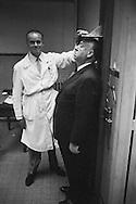 Alfred Hitchcock being measured in the jail of the Conciergerie in Paris, the only time a photographer was allowed in this part of the building.<br /> <br /> Alfred Hitchcock mesuré dans la prison de la Conciergerie à Paris, la seule fois qu'un photographe a été autorisé dans cette partie du bâtiment .