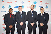 Team GB's four-man bobsleigh team Joel Fearon, Bruce Tasker, Stuart Benson and John Jackson during Team GB's annual ball at Old Billingsgate on the 21st November 2019 in London in the United Kingdom.