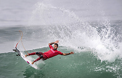 September 15, 2017 - San Onofre, California, USA - Filipe Toledo of Brazil falls off his board as he surfs against Kanoa Igarashi of Huntington Beach in the quarterfinals of the Hurley Pro at Trestles held at San Onofre State Beach on Friday, August 15, 2017. Toledo defeated Igarashi and went on to win the competition. (Credit Image: © Mark Rightmire/The Orange County Register via ZUMA Wire)