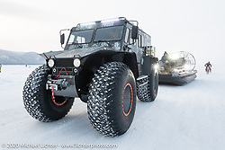This MotorCity monster truck was used to tow their airboat to and from the start at the Baikal Mile Ice Speed Festival. Maksimiha, Siberia, Russia. Saturday, February 29, 2020. Photography ©2020 Michael Lichter.