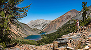 Hoover Lakes seen from the trail to Burro Pass in Hoover Wilderness of Humboldt-Toiyabe National Forest, Eastern Sierra Nevada, Mono County, California, USA. Our backpack from Green Creek Trailhead to Summit Lake was 7.6 mi with 2360 ft gain, 310 ft descent, over a leisurely 3 days, then out on the fourth day. From Summit Lake, we day hiked east to Burro Pass with a view to Virginia Lakes (2180 ft gain over 4 miles round trip). Multiple overlapping photos were stitched to make this panorama.