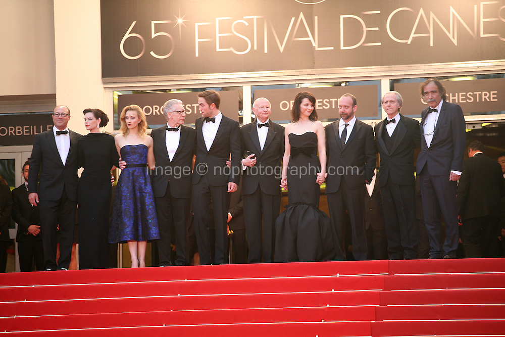 The cast and director on the red steps at the Cosmopolis gala screening at the 65th Cannes Film Festival France. Cosmopolis is directed by David Cronenberg and based on the book by writer Don Dellilo.  Friday 25th May 2012 in Cannes Film Festival, France.