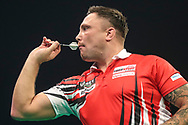 Gerwyn Price during the Unibet Premier League darts at Motorpoint Arena, Cardiff, Wales on 20 February 2020.