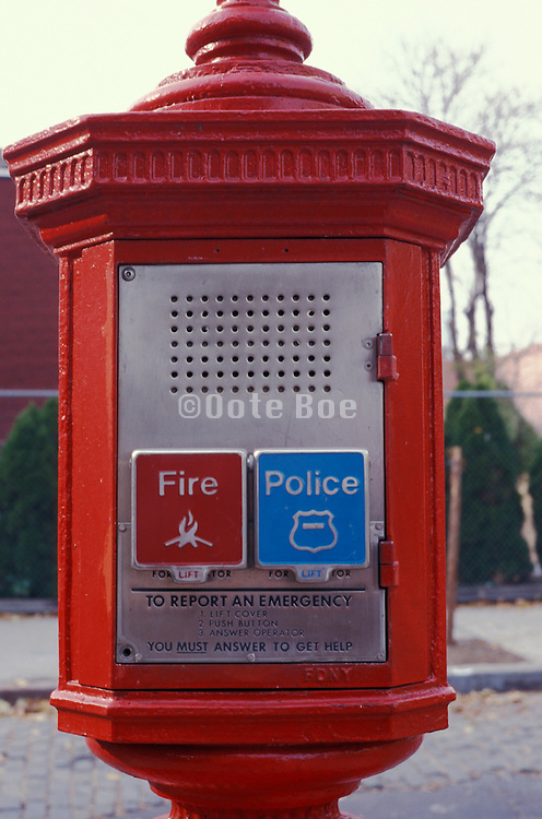 close up of emergency fire and police department phone