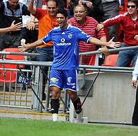 The Wembley Cup at Wembley Stadium 26/07/09<br /> Hany el Egezy  (Al Ahly) celebrates goal<br /> Photo Roger Parker Fotosports International