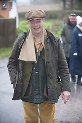 ©Licensed to London News Pictures 26/12/2019. <br /> Chiddingstone ,UK. Nigel Farage arriving at the hunt. Nigel Farage (Brexit party Leader) attending Old Surrey Burstow and West Kent Boxing day hunt at Chiddingstone.  Photo credit: Grant Falvey/LNP