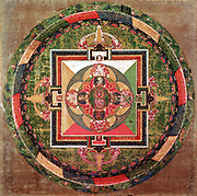 Tibetan Buddhist Mandala, symbolic diagram used in meditation and in sacred ceremonies. British Museum