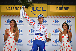 July 20, 2018 - Valence, FRANCE - French Julian Alaphilippe of Quick-Step Floors celebrates on the podium in the red polka-dot jersey for best climber after the 13th stage in the 105th edition of the Tour de France cycling race, from Bourg d'Oisans to Valence (169,5 km), France, Friday 20 July 2018. This year's Tour de France takes place from July 7th to July 29th. BELGA PHOTO DAVID STOCKMAN (Credit Image: © David Stockman/Belga via ZUMA Press)