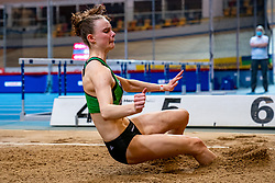 Sofie Dokter in action on long jump during the Dutch Athletics Championships on 14 February 2021 in Apeldoorn
