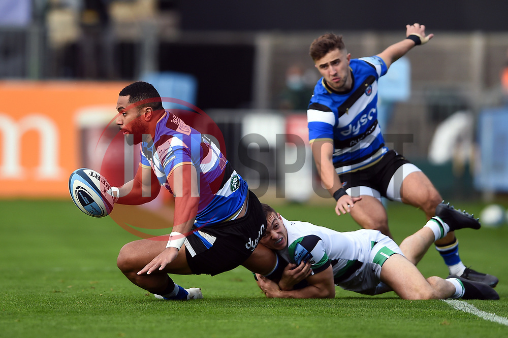 Joe Cokanasiga of Bath Rugby is tackled to ground - Mandatory byline: Patrick Khachfe/JMP - 07966 386802 - 21/11/2020 - RUGBY UNION - The Recreation Ground - Bath, England - Bath Rugby v Newcastle Falcons - Gallagher Premiership