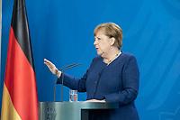 20 MAY 2020, BERLIN/GERMANY:<br /> Angela Merkel, CDU, Budneskanzlerin, gibt ein Pressestatement zur vorangegangenen Videokonferenz mit den mit den Vorsitzenden internationaler Wirtschafts- und <br /> Finanzorganisationen, Bundeskanzleramt<br /> IMAGE: 20200520-01-009<br /> KEYWORDS: Pressekonferenz