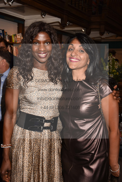 Left to right, Sandra Scheerer and Geeta Sidhu-Robb at a party to celebrate the publication of Saving The World by Paola Diana at Daunt Books, Marylebone, London England. 2 May 2018.