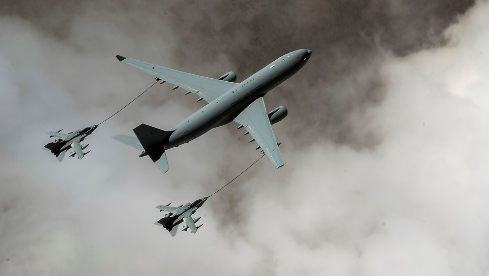 A Royal Air Force Voyager KC2 refuels two RAF Tornado GR4, Mar 4, 2015, over Iraq. The RAF aircraft are providing combat air support for the U.S. led coalition against Da'esh. (U.S. Air Force Photo by Staff Sgt. Perry Aston/Released)