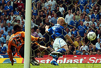 Picture: Henry Browne.<br /> Date: 25/04/2004.<br /> Birmingham City v Wolverhampton Wanderers FA Barclaycard Premiership.<br /> <br /> Mikael Forssell scores past Wolves' Isaac Okoronkwo to equalise.