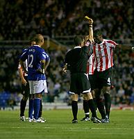 Photo: Steve Bond.<br />Birmingham City v Sunderland. The FA Barclays Premiership. 15/08/2007.  Dickson Etuhu (4) is booked by referee Stroud