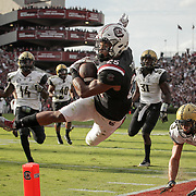 South Carolina running back A.J. Turner launches towards the endzone against Vanderbilt during an SEC college football game at Williams-Brice Stadium in Columbia, S.C. ©Travis Bell Photography