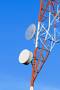 Microwave dish antenna on television broadcast transmission lattice tower <br />