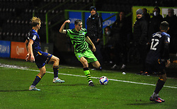 Liam Kitching of Forest Green Rovers is challenged by George Lapslie of Mansfield Town - Mandatory by-line: Nizaam Jones/JMP - 14/11/2020 - FOOTBALL - innocent New Lawn Stadium - Nailsworth, England - Forest Green Rovers v Mansfield Town - Sky Bet League Two