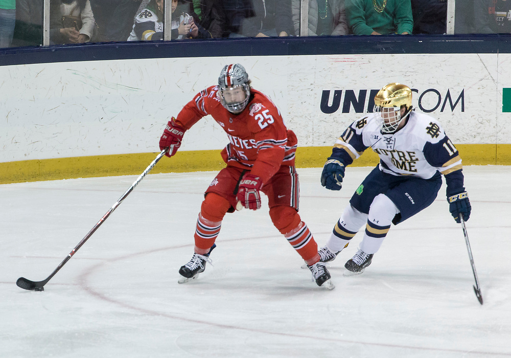 March 17, 2018:  Ohio State forward Brendon Kearney (25) skates with the puck as Notre Dame forward Cal Burke (11) back checks during NCAA Hockey game action between the Notre Dame Fighting Irish and the Ohio State Buckeyes at Compton Family Ice Arena in South Bend, Indiana.  Notre Dame defeated Ohio State 3-2 in overtime.  John Mersits/CSM