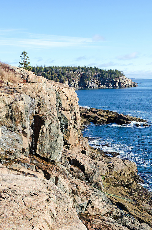 Winter view from East Point toward Hunters Head in Acadia National Park, Maine.