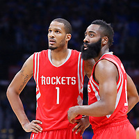 14 May 2015: Houston Rockets forward Trevor Ariza (1) is seen next to Houston Rockets guard James Harden (13) during the Houston Rockets 119-107 victory over the Los Angeles Clippers, in game 6 of the Western Conference semifinals, at the Staples Center, Los Angeles, California, USA.