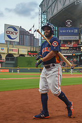 March 26, 2018 - Houston, TX, U.S. - HOUSTON, TX - MARCH 26: Houston Astros infielder Jose Altuve (27) prepares to bat during the game between the Milwaukee Brewers and Houston Astros at Minute Maid Park on March 26, 2018 in Houston, Texas. (Photo by Ken Murray/Icon Sportswire) (Credit Image: © Ken Murray/Icon SMI via ZUMA Press)