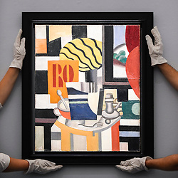 © Licensed to London News Pictures. 29/01/2020. LONDON, UK. Technicians present ''Nature Morte'' by Fernand Léger, (Est. £2,200,000 - 2,800,000). Preview of Sotheby's Impressionist & Modern and Surrealist Art sales.  The auction will take place at Sotheby's New Bond Street on 4 and 5 February 2020.  Photo credit: Stephen Chung/LNP