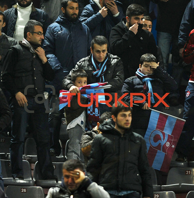Trabzonspor's Supporters fans during their Turkish SuperLeague Derby match Trabzonspor between Besiktas at the Avni Aker Stadium at Trabzon Turkey on Saturday, 09 March 2013. Photo by TURKPIX