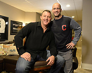 CHICAGO - JANUARY 24:  Former Major League player Jim Thome poses for a photo with long time Cleveland Indians Director of Media Relations Bart Swain after Thome received a phone call from the National Baseball Hall of Fame in Cooperstown, New York, informing him that he has been elected to the Hall of Fame. Jim accepted the call while surrounded by his family, wife Andrea and children Lila Grace and Landon. (Photo by Ron Vesely)  Subject: Jim Thome