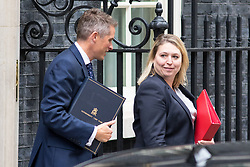 © Licensed to London News Pictures. 21/09/2017. London, UK. Secretary of State for Digital, Culture, Media and Sport Karen Bradley and Chief Whip Gavin Williamson leaving No 10 Downing Street after attending a Cabinet meeting this morning. Photo credit : Tom Nicholson/LNP