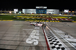 March 1, 2019 - Las Vegas, NV, U.S. - LAS VEGAS, NV - MARCH 01: Kyle Busch (51) KBM Toyota Tundra crosses the finish line to win the race during the NASCAR Gander Outdoors Truck Series Strat 200 on March 01, 2019, at Las Vegas Motor Speedway in Las Vegas, NV. (Photo by Chris Williams/Icon Sportswire) (Credit Image: © Chris Williams/Icon SMI via ZUMA Press)