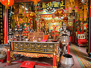 26 AUGUST 2014 - BANGKOK, THAILAND:  Interior of the Gong Wu Shrine in Bangkok. Gong Wu is an ancient shrine dating back over 270 years and is located on the Thonburi side of the Chao Praya River in Somdet Ya (Princess Mother Community), Khlong San area of Bangkok. The first of the 3 Gong Wu statues was brought to Thailand around 1736 by Hokkien Chinese traders. On site there are 3 primary temple buildings of various ages.   PHOTO BY JACK KURTZ