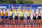 Lucerne, Switzerland. GBR W4X, Bow Annie VERNON, Beth RODFORD, Anna WATKINS {BEBINGTON] and Katherine GRAINGER. 2010 FISA World Cup. Lake Rotsee, Lucerne.  {time}   Sunday  11/07/2010.  [Mandatory Credit Peter Spurrier/ Intersport Images]
