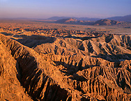 CADAB_119 -  Sunset defines eroded sedimentary formations at Font's Point, Anza-Borrego Desert State Park, California, USA