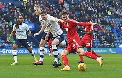 Birmingham City's Sam Gallagher gets a shot on target