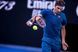 January 20, 2019 - Melbourne, VIC, U.S. - MELBOURNE, AUSTRALIA - JANUARY 20 : Roger Federer of ÊSwitzerland returns the ball during day 7 of the Australian Open on January 20 2019, at Melbourne Park in Melbourne, Australia.(Photo by Jason Heidrich/Icon Sportswire) (Credit Image: © Jason Heidrich/Icon SMI via ZUMA Press)