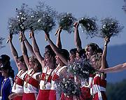 Barcelona, SPAIN.  CAN W8+ gold medalist, Brenda Susan TAYLOR, Jennifer Kirsten BARNES, Jessica MONROE, Kathleen HEDDLE, Kay Frances WORTHINGTON, Cox, Lesley Allison THOMPSON, Marnie Elizabeth MCBEAN, Megan Catherine DELEHANTY, Shannon CRAWFORD. 1992 Olympic Rowing Regatta Lake Banyoles, Catalonia [Mandatory Credit Peter Spurrier/ Intersport Images]