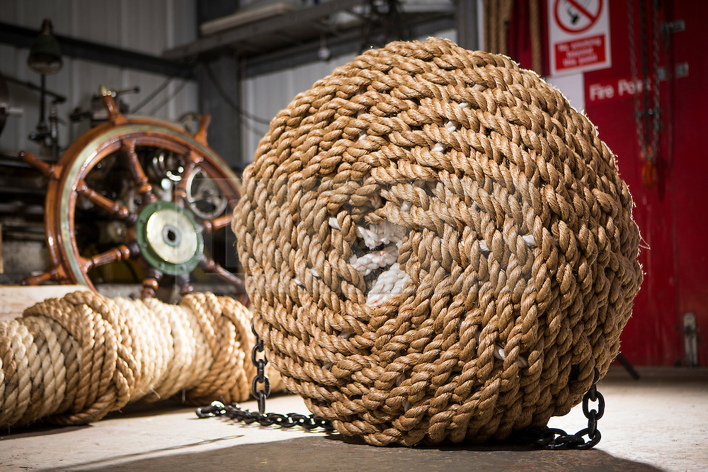 """© Licensed to London News Pictures. 04/05/2016. Birkenhead UK. Picture shows a hand made Fender made by volunteers at the Canada Dock volunteer workshop for the Daniel Adamson. The Daniel Adamson steam boat has been bought back to operational service after a £5M restoration. The coal fired steam tug is the last surviving steam powered tug built on the Mersey and is believed to be the oldest operational Mersey built ship in the world. The """"Danny"""" (originally named the Ralph Brocklebank) was built at Camel Laird ship yard in Birkenhead & launched in 1903. She worked the canal's & carried passengers across the Mersey & during WW1 had a stint working for the Royal Navy in Liverpool. The """"Danny"""" was refitted in the 30's in an art deco style. Withdrawn from service in 1984 by 2014 she was due for scrapping until Mersey tug skipper Dan Cross bought her for £1 and the campaign to save her was underway. Photo credit: Andrew McCaren/LNP ** More information available here http://tinyurl.com/jsucxaq **"""